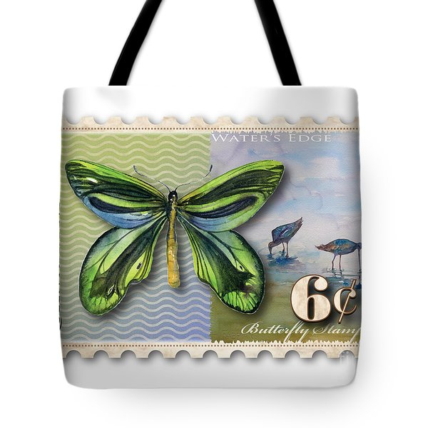 6 Cent Butterfly Stamp Tote Bag by Amy Kirkpatrick