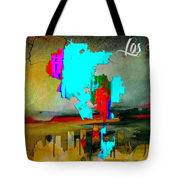 Los Angeles Map And Skyline Tote Bag by Marvin Blaine
