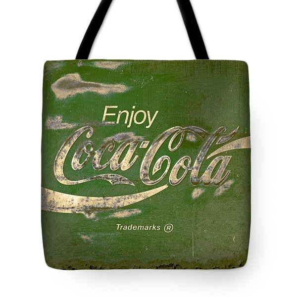 Coca Cola Sign Grungy Retro Style Tote Bag by John Stephens