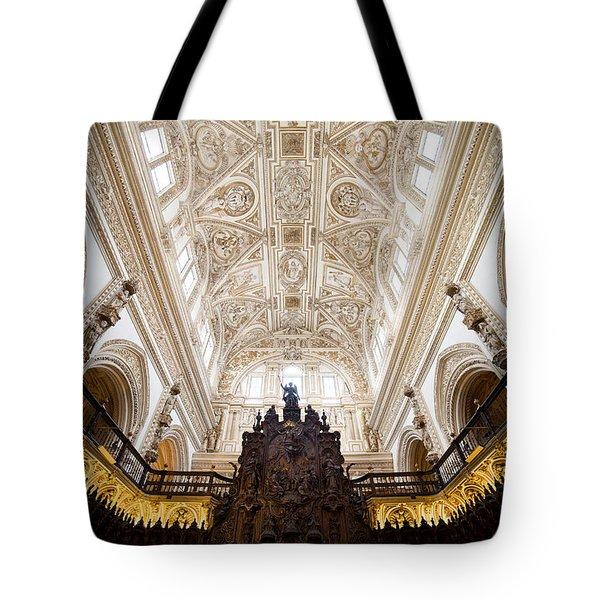 Mezquita Cathedral Interior In Cordoba Tote Bag by Artur Bogacki