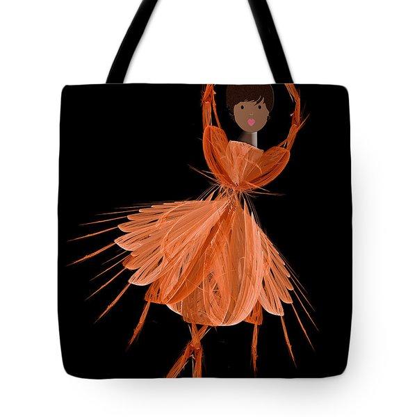 7 Orange Ballerina Tote Bag by Andee Design