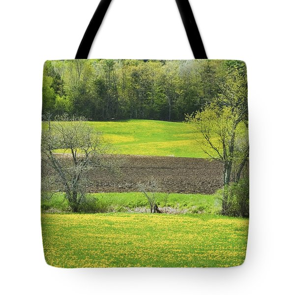 Spring Farm Landscape With Dandelion bloom in Maine Tote Bag by Keith Webber Jr
