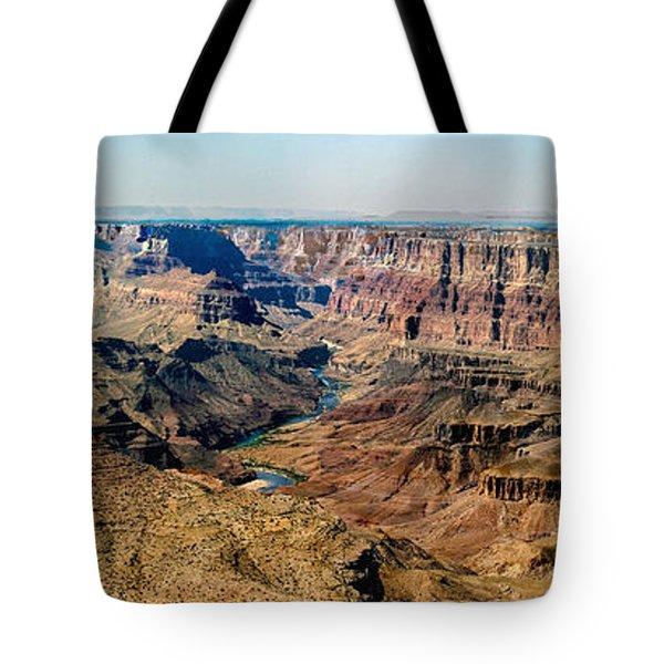 8-image Panorama Grand Canyon Desertview Tote Bag by Bob and Nadine Johnston