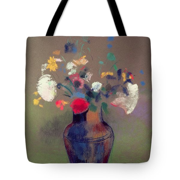 Vase Of Flowers Tote Bag by Odilon Redon