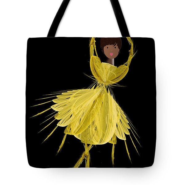 8 Yellow Ballerina Tote Bag by Andee Design