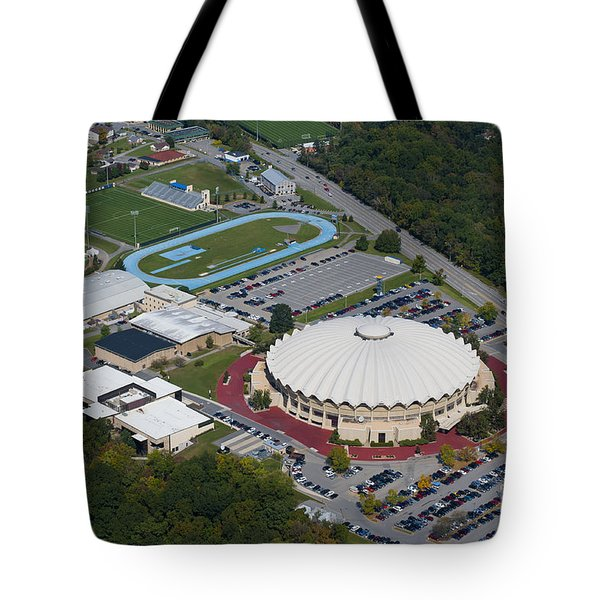 aerials of WVVU campus Tote Bag by Dan Friend