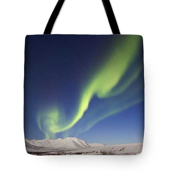 Aurora Borealis With Moonlight Tote Bag by Joseph Bradley
