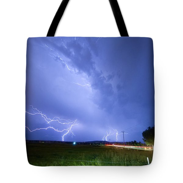 95th and Woodland Lightning Thunderstorm View Tote Bag by James BO  Insogna