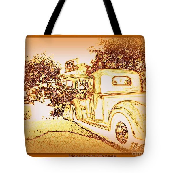 A And W Drive In Tote Bag by Bobbee Rickard