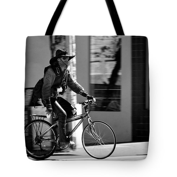 A barefoot cyclist with beard and hat in San Francisco Tote Bag by RicardMN Photography