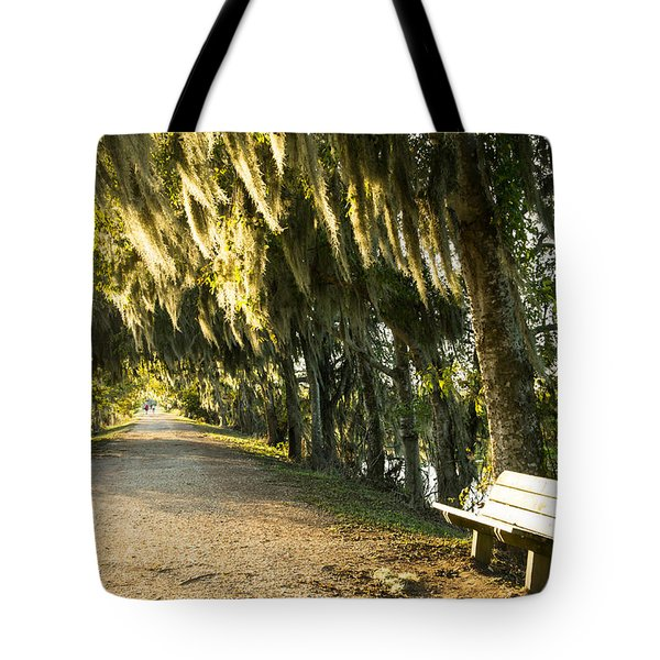 A Bench Under Golden Spanish Moss Tote Bag by Ellie Teramoto
