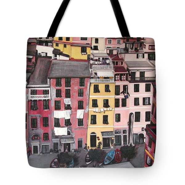 A Bird's Eye View Of Cinque Terre Tote Bag by Quin Sweetman