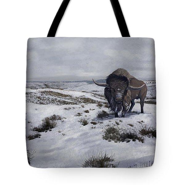 A Bison Latifrons In A Winter Landscape Tote Bag by Roman Garcia Mora