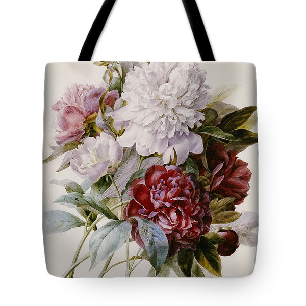 A Bouquet Of Red Pink And White Peonies Tote Bag by Pierre Joseph Redoute