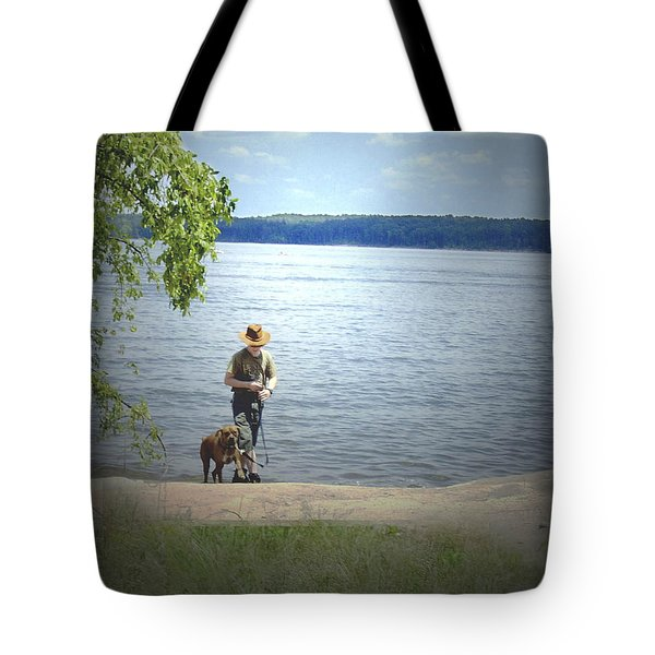 A boy and his dog Tote Bag by Sandra Clark