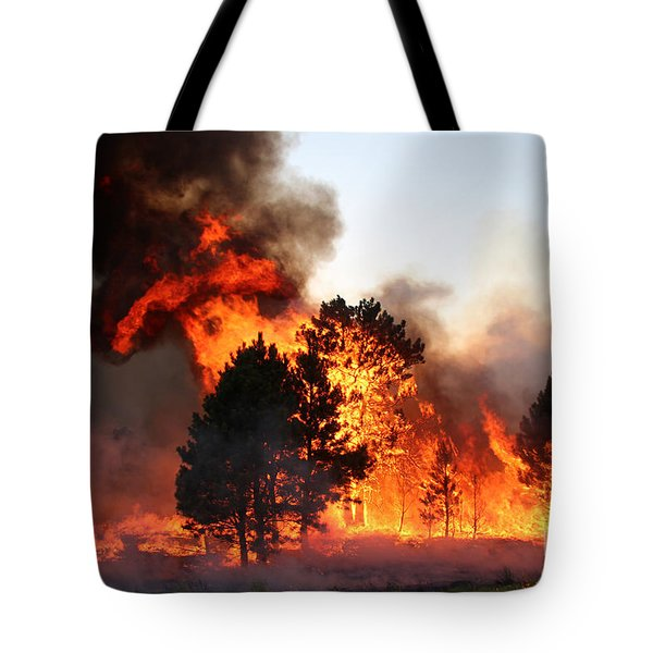 Tote Bag featuring the photograph A Burst Of Flames From The White Draw Fire by Bill Gabbert