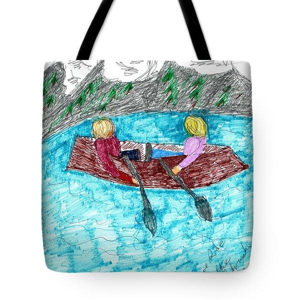 A Canoe Ride Tote Bag by Elinor Rakowski