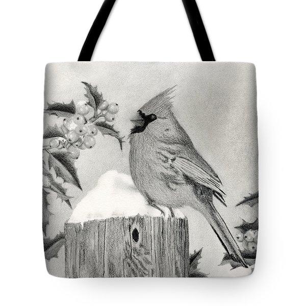 Cardinal And Holly Tote Bag by Sarah Batalka