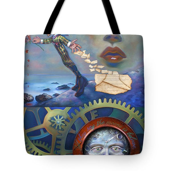A Clockwerk Moone Is A Harsh Mistress Tote Bag by Patrick Anthony Pierson