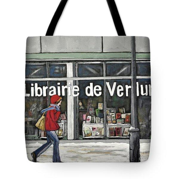 A Cold Day In Verdun  Librairie De Verdun Tote Bag by Reb Frost