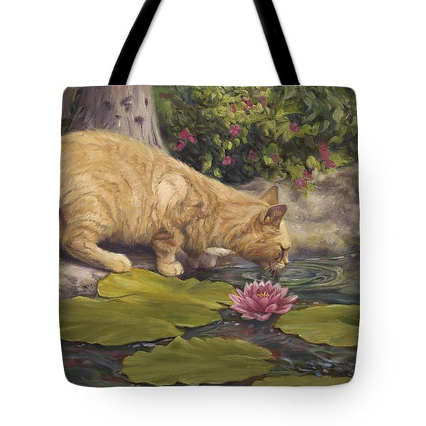 A Drink At The Pond Tote Bag by Lucie Bilodeau
