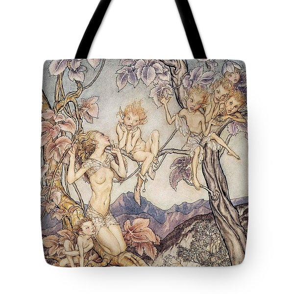 A Fairy Song From A Midsummer Nights Dream Tote Bag by Arthur Rackham