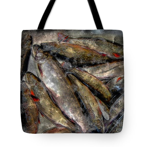 A Fine Catch Of Trout - Steel Engraving Tote Bag by Barbara Griffin