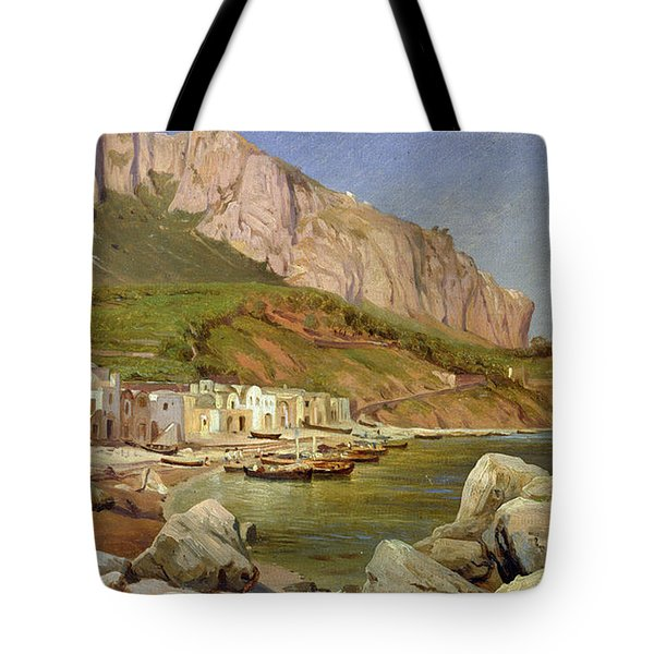 A Fishing Village At Capri Tote Bag by Louis Gurlitt