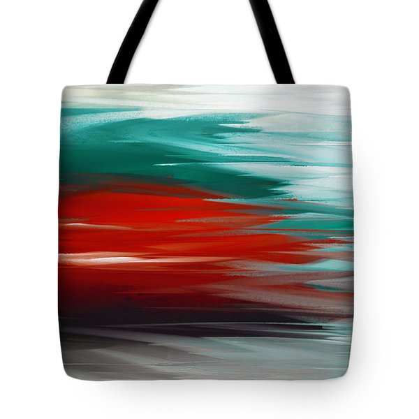 A Frozen Sunset Abstract Tote Bag by Andee Design