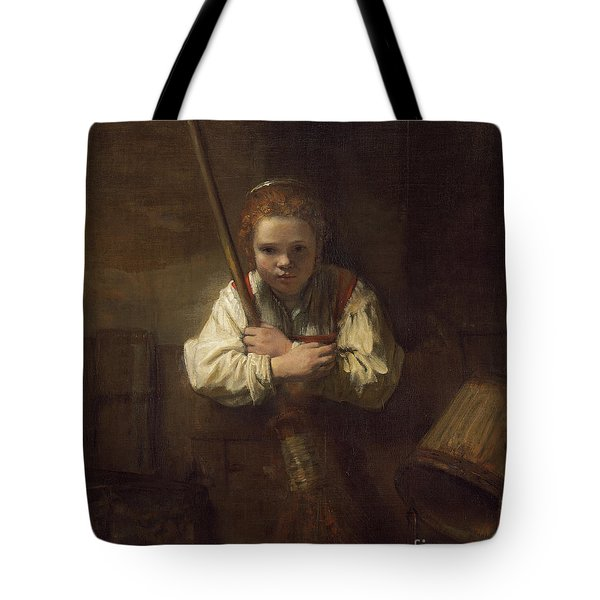 A Girl With A Broom Tote Bag by Rembrandt
