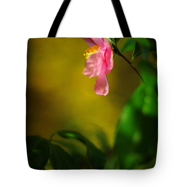 A Golden Day Portrait Of A Pink Camellia Tote Bag by Rebecca Sherman