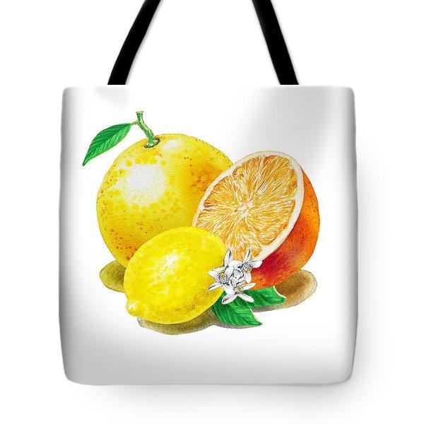 A Happy Citrus Bunch Grapefruit Lemon Orange Tote Bag by Irina Sztukowski