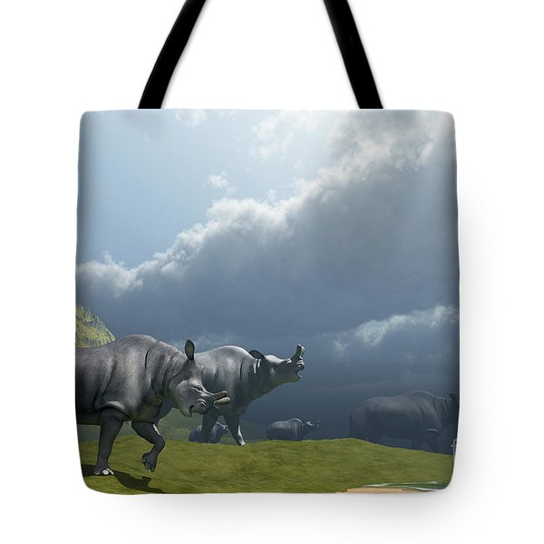 A Herd Of Brontotherium Dinosaurs Come Tote Bag by Corey Ford
