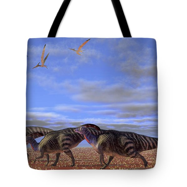 A Herd Of Parasaurolophus Dinosaurs Tote Bag by Corey Ford