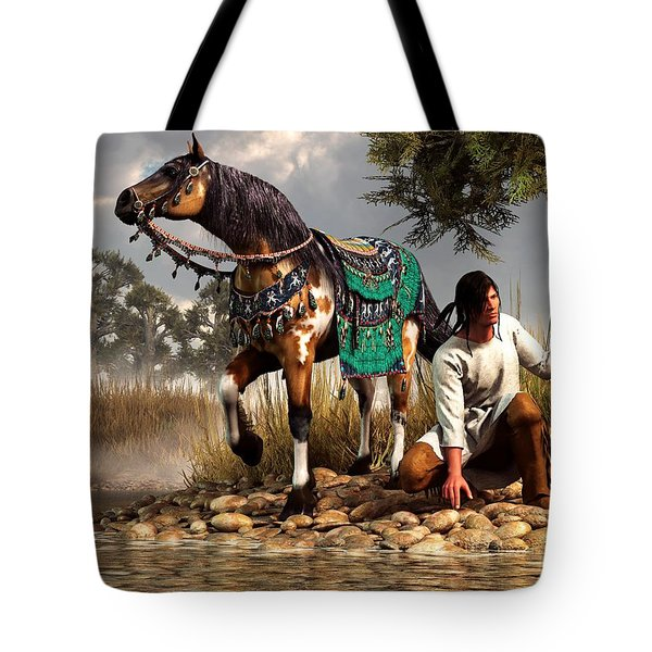 A Hunter And His Horse Tote Bag by Daniel Eskridge