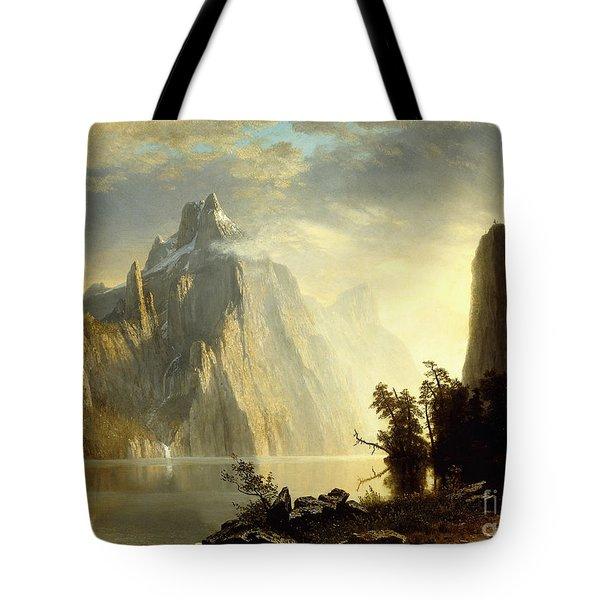 A Lake In The Sierra Nevada Tote Bag by Albert Bierstadt