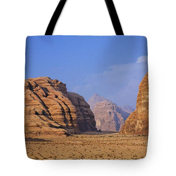 A Landscape Of Rocky Outcrops In The Desert Of Wadi Rum In Jordan Tote Bag by Robert Preston