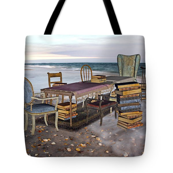 A Library of Oceans Tote Bag by Betsy C  Knapp