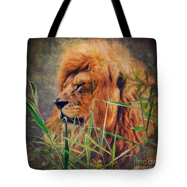 A Lion Portrait Tote Bag by Angela Doelling AD DESIGN Photo and PhotoArt
