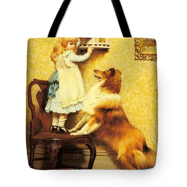 A Little Girl And Her Sheltie Tote Bag by Charles Burton Barber