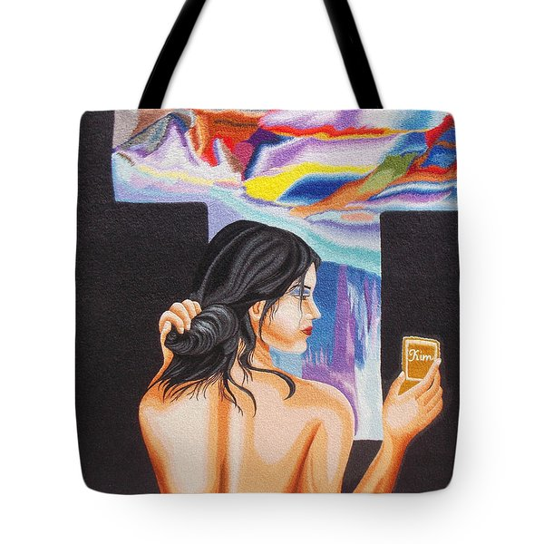 A Look Into The Past Hand Embroidery Tote Bag by To-Tam Gerwe