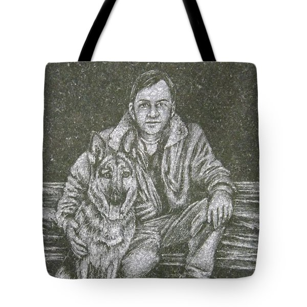 A Man And His Dog Tote Bag by Dennis Pintoski
