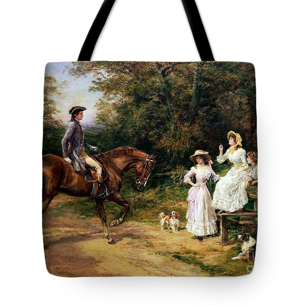 A Meeting By A Stile  Tote Bag by Heywood Hardy
