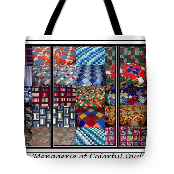 A Menagerie of Colorful Quilts Triptych Tote Bag by Barbara Griffin