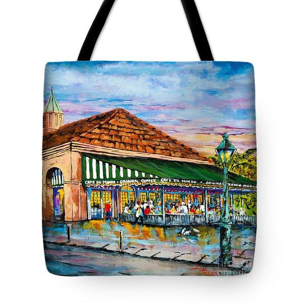 A Morning At Cafe Du Monde Tote Bag by Dianne Parks