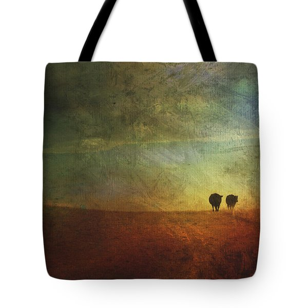 A Painterly Image Of Two Cows Walking Tote Bag by Roberta Murray