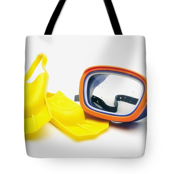 A Pair Of Flippers And Underwater Mask Tote Bag by Ron Nickel