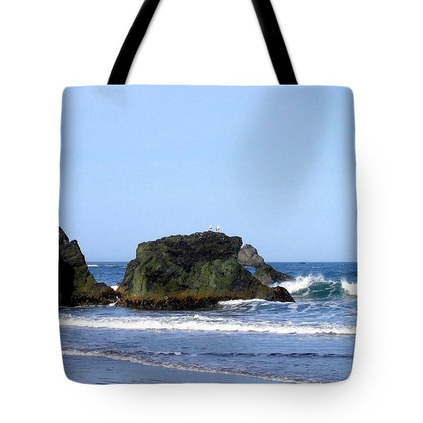 A Pair Of Seagulls On A Rock Tote Bag by Will Borden
