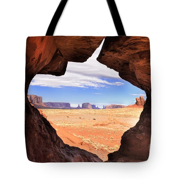 A Peek Into Monument Valley Tote Bag by Sandra Bronstein