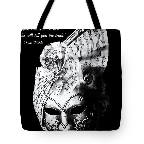 A picture of a venitian mask accompanied by an Oscar Wilde quote Tote Bag by Nila Newsom